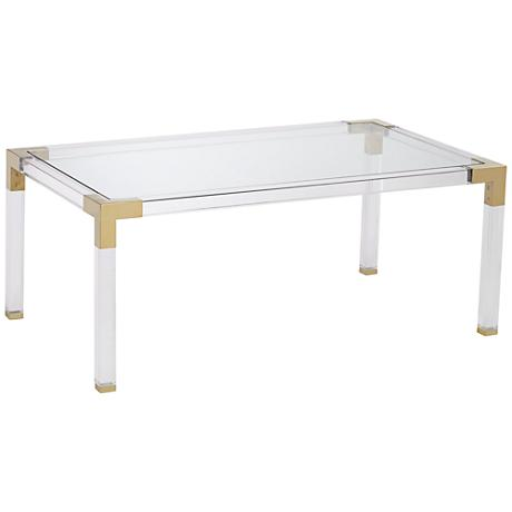 Erica Rectangle Clear Acrylic Coffee Table With Gold Corners 1g407