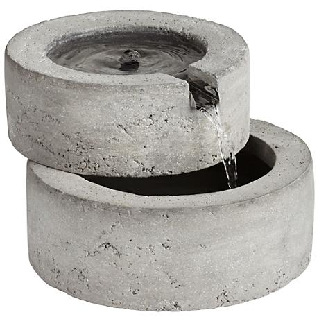 Round Concrete Outdoor Tabletop Fountain