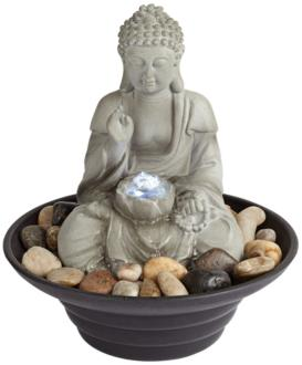 "Sitting Buddha 10"" High LED Tabletop Zen Fountain (1G448) 1G448"