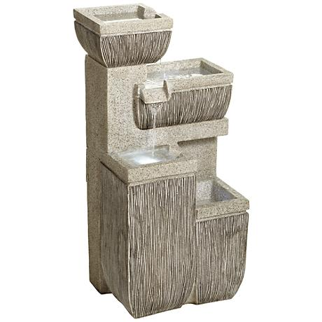 "Alamere Square 31 3/4""H Tiered Outdoor LED Floor Fountain"