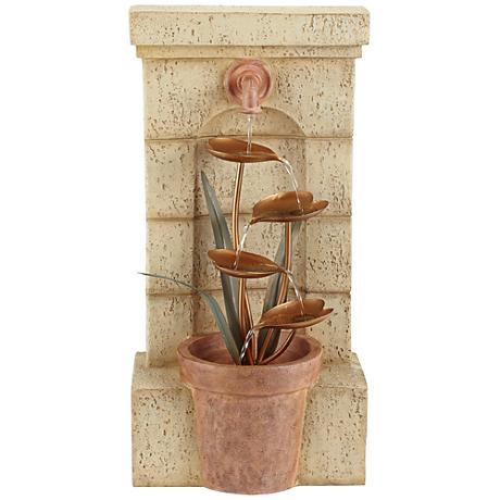 "Copper Flower Pot 30"" High Cascade Garden Fountain"