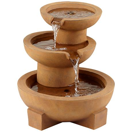 "Tempe Rustic Tiered Bowl 21"" High Outdoor Floor Fountain"