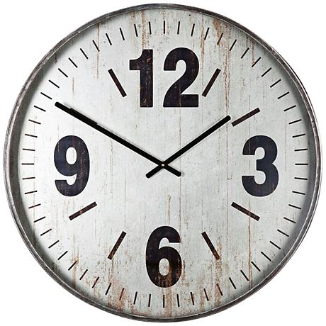 "Uttermost Marino Brushed Silver 30 1/4"" Round Wall Clock"