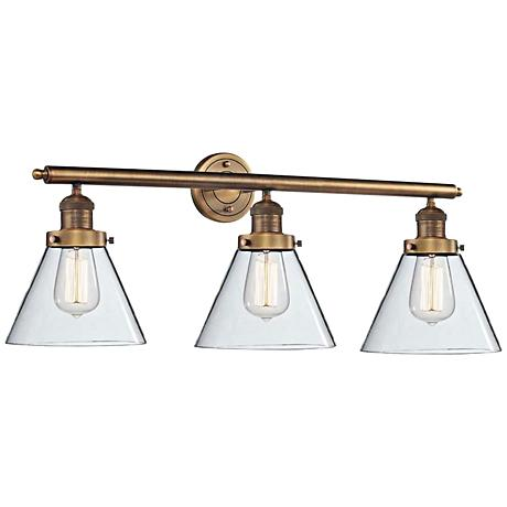 "Cone Collection 32"" Wide Matte Glass Brass Bath Light"