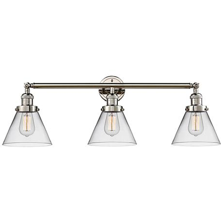 "Cone 32"" Wide Clear Glass Polished Nickel Bath Light"