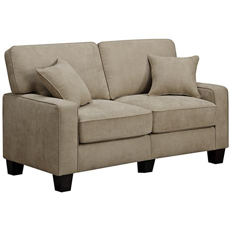 "Serta RTA Martinique 61""W Navarre Beige Fabric Loveseat"