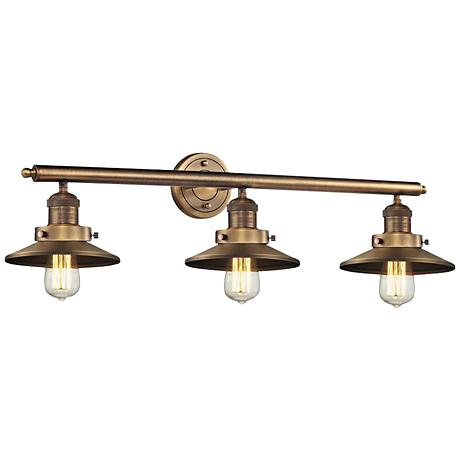 "Halophane Brushed Brass Shades 32"" Wide Bath Light"