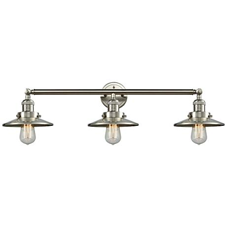 "Halophane Satin Nickel Shades 32"" Wide Bath Light"