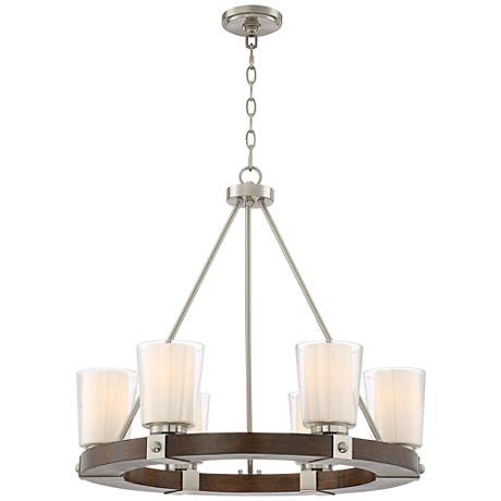 "Barquero 27"" Wide Dark Wood 6-Light Double Glass Chandelier"