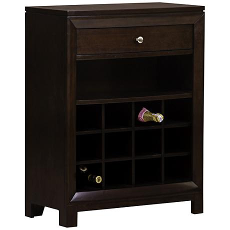 Pelham Modern Warm Cherry 1-Drawer Wine Cabinet