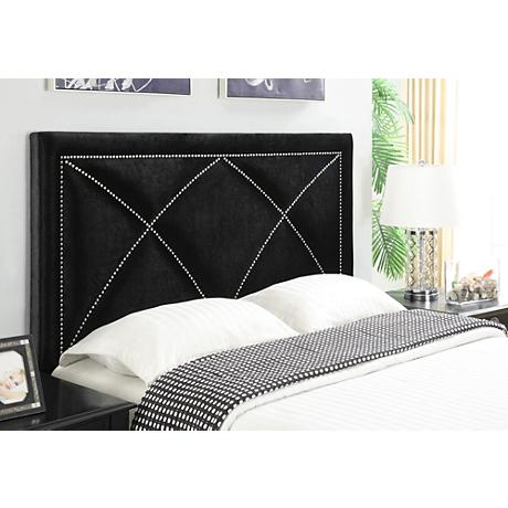 Ferris-X Black Velvet Upholstered Queen Headboard