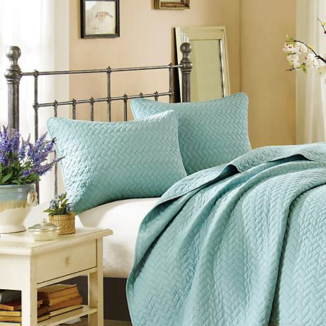 Hampton Hill Velvet Touch Sky Blue Coverlet Set