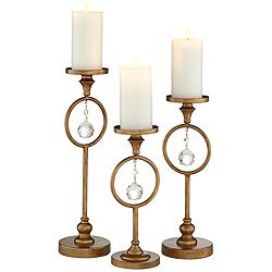 Christianna Antique Gold Taper Candle Holder Set of 3