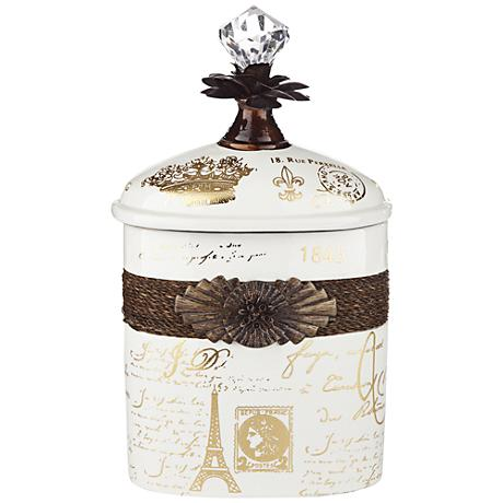"French Script 10 1/2"" High Decorative White Ceramic Bottle"