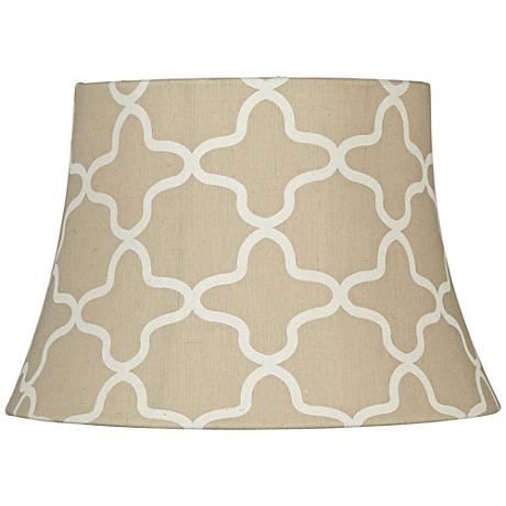 Oatmeal and White Quatrefoil Bell Lamp Shade 10x14x9.5 (Uno)
