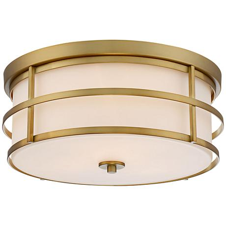 "Possini Euro Robbe 15"" Wide Antique Gold Ceiling Light"