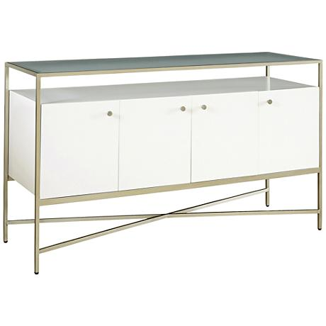 Hemming Champagne Metal Ivory Console Table TV Cabinet