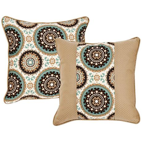"Stella Taupe Medallion 18"" Square Decorative Pillow"