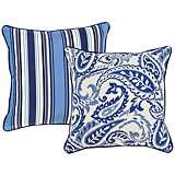 "Tradewinds Blue Paisley 18"" Square Decorative Pillow"