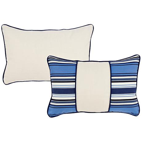 "Tradewinds Blue Striped Color Block 20""x13"" Pillow"