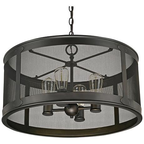 "Capital Dylan Mesh 22""W Bronze Drum Outdoor Hanging Light"