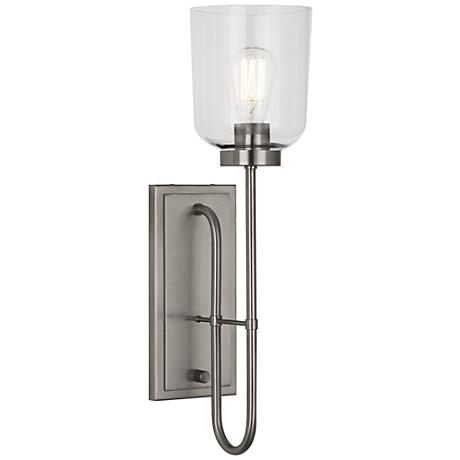 "Tyrie 22 1/4"" High Antique Nickel Wall Sconce"