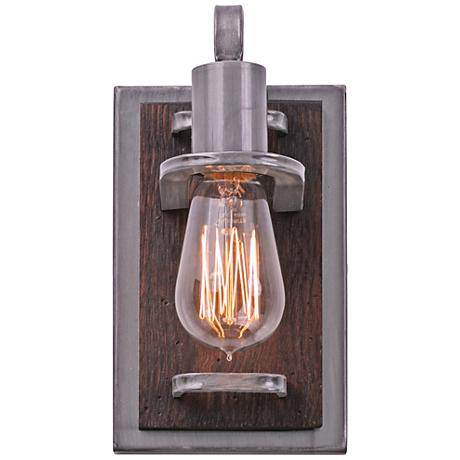 "Varaluz Lofty 9"" High Steel and Wood Wall Sconce"