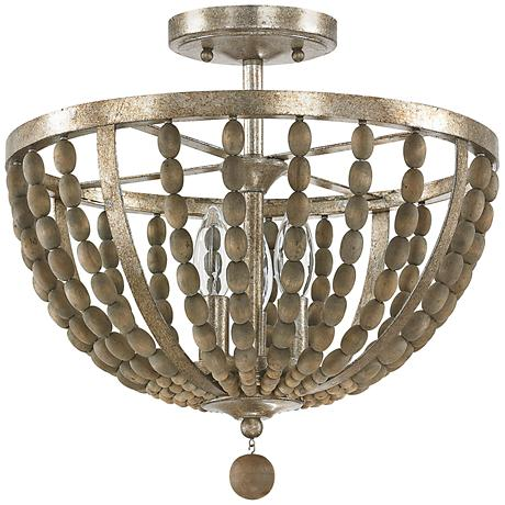 "Donny Osmond Home Lowell 15""W Tuscan Wood Ceiling Light"