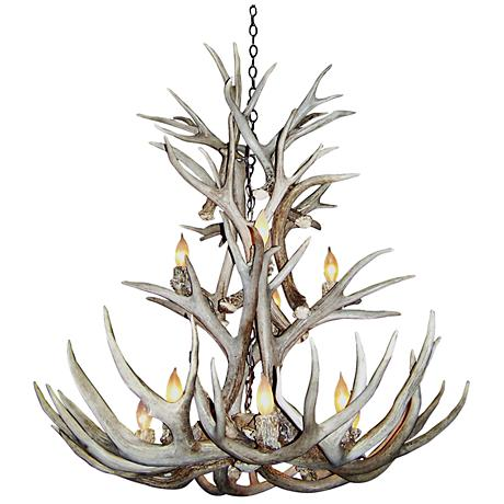 "Mule Deer 27-28""W 9-Light Natural-Shed Antler Chandelier"