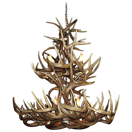 "Mule Deer 28-30""W 12-Light Natural-Shed Antler Chandelier"