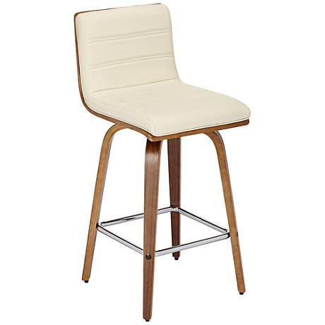 "Vienna 26"" Cream and Walnut Counter Stool"