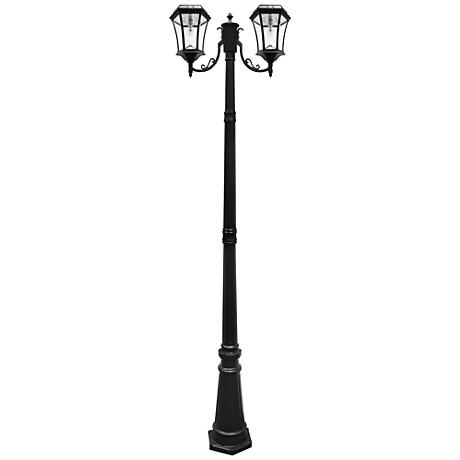 "Victorian Black 90""H 2700K LED 2-Lamp Solar Post Light"