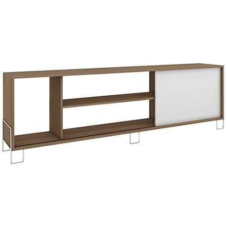 Nacka 1-Door White and Oak Wood Frame TV Stand