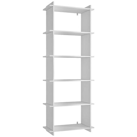 Gisborne 5-Shelf White Wood Bookcase