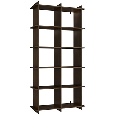 Gisborne 10-Shelf Tobacco Wood Bookcase