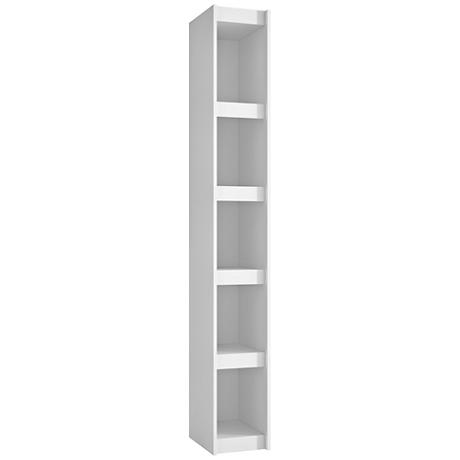 Parana 5-Shelf White Wood Small Bookcase