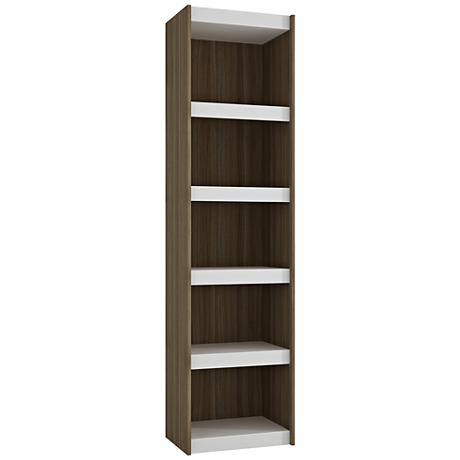 Parana 5-Shelf White and Oak Wood Medium Bookcase