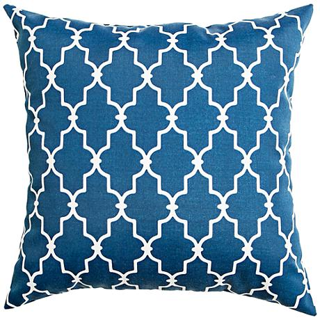 "Frisco Navy Geometric 18"" Square Outdoor Pillow"
