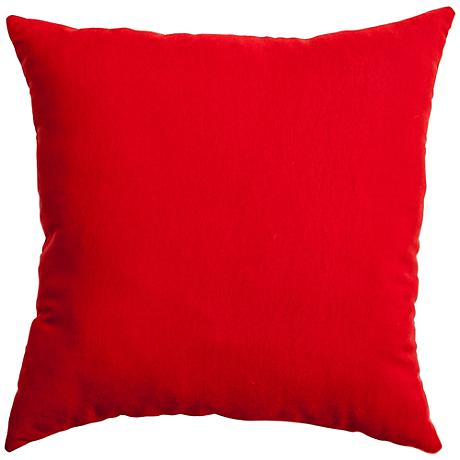 "Revere Bright Red 22"" Square Outdoor Pillow"