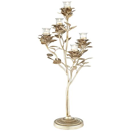 Foyil Leaf Silver Votive Candle Holder