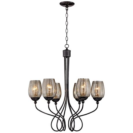 "Varaluz Emma 27"" Wide Black Chrome Chandelier"