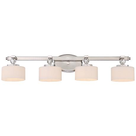 "Quoizel Downtown 33 1/2"" Wide Brushed Nickel LED Bath Light"