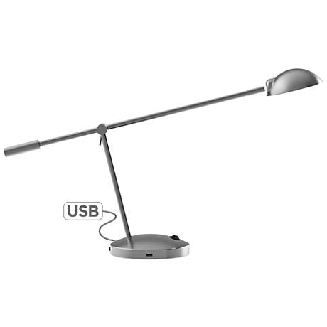 brushed nickel lamp with usb ports 1k501. Black Bedroom Furniture Sets. Home Design Ideas