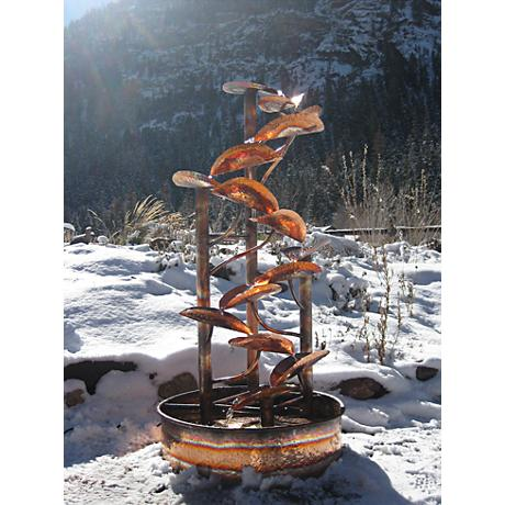 "Helix 60"" High Rustic Sculptural Copper Outdoor Fountain"