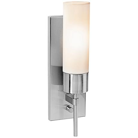 "Iron 14 1/2"" High Brushed Steel CFL Wall Sconce"