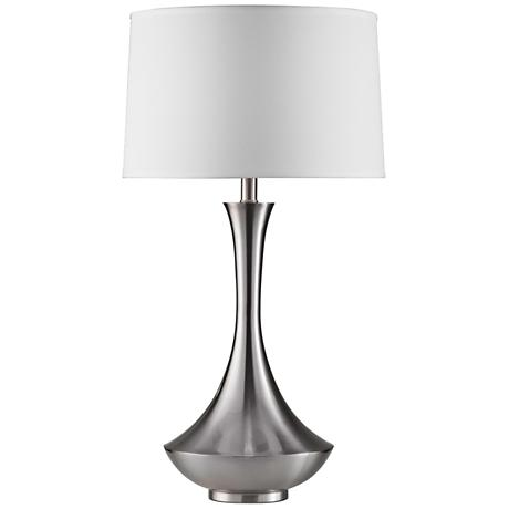 Brighton Hammered Pot Brushed Nickel Table Lamp X4787