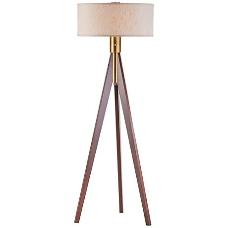 Nova Tripod Medium Brown Wood Floor Lamp