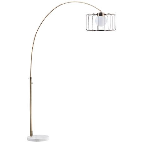 Nova Watson Weathered Brass Cage Shade Arc Floor Lamp
