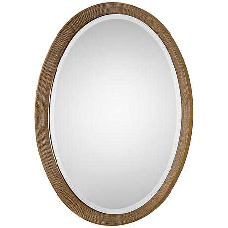 "Uttermost Arena Golden Leaf 20 3/4""x 28 1/2"" Oval Mirror"