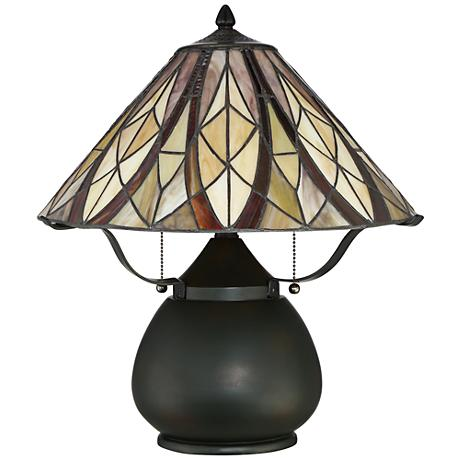 Quoizel Victory Tiffany Style Bronze 2-Light Desk Lamp